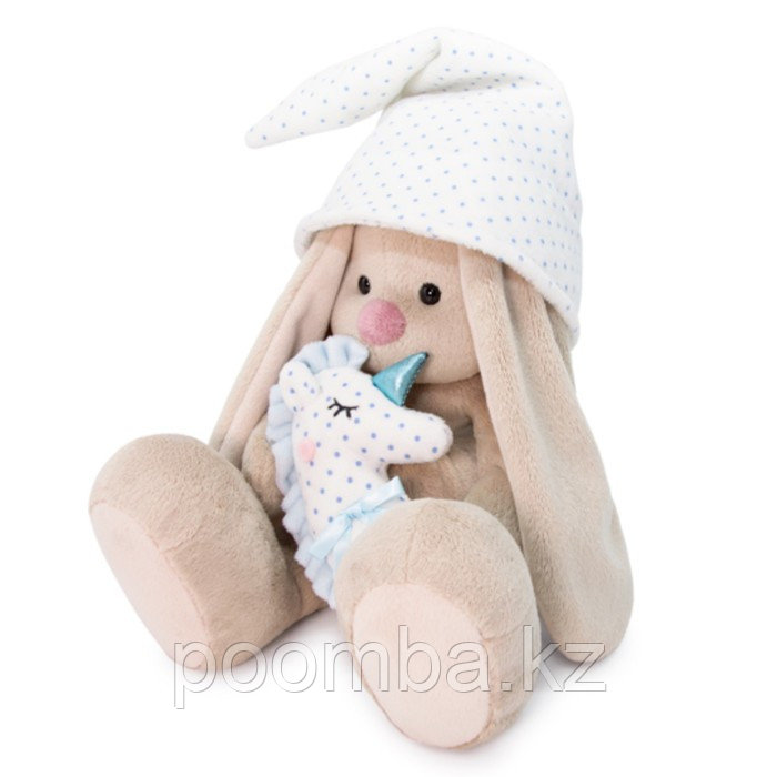 Зайка Ми с голубой подушкой - единорогом (большой)