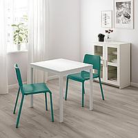 ВАНГСТА / ТЕОДОРЕС Стол и 2 стула, белый, зеленый, 80/120 см