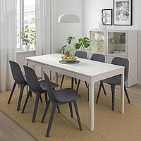ЭКЕДАЛЕН / ОДГЕР Стол и 4 стула, белый, синий, 120/180 см, фото 1