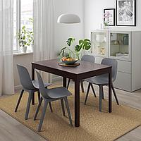 ЭКЕДАЛЕН / ОДГЕР Стол и 4 стула, темно-коричневый, синий, 120/180 см, фото 1