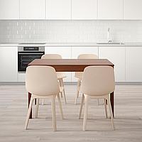 ЭКЕДАЛЕН / ОДГЕР Стол и 4 стула, коричневый, белый бежевый, 120/180 см, фото 1
