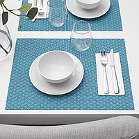 ГАЛЛЬРА Салфетка под приборы, синий, с рисунком, 45x33 см, фото 1