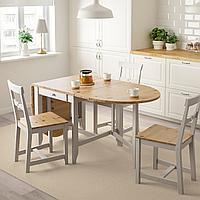 ГЭМЛЕБИ Стол складной, светлая морилка антик, серый, 67/134/201x78 см, фото 1