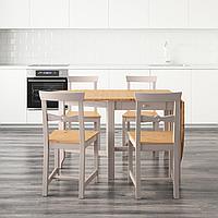 ГЭМЛЕБИ Стол и 4 стула, светлая морилка антик, серый, 67 см, фото 1