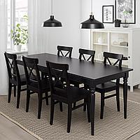 ИНГАТОРП Раздвижной стол, черный, 155/215x87 см, фото 1