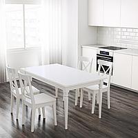 ИНГАТОРП Раздвижной стол, белый, 155/215x87 см, фото 1