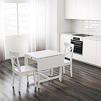 ИНГАТОРП Стол c откидными полами, белый, 65/123x78 см, фото 1