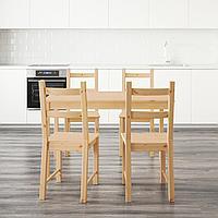 ИНГУ / ИВАР Стол и 4 стула, сосна, 120 см, фото 1