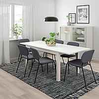 ЛАНЕБЕРГ / КАРЛ-ЯН Стол и 4 стула, белый, темно-серый темно-серый, 130/190x80 см, фото 1