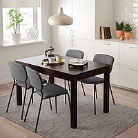 ЛАНЕБЕРГ / КАРЛ-ЯН Стол и 4 стула, коричневый, темно-серый темно-серый, 130/190x80 см, фото 1