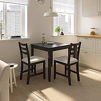 ЛЕРХАМН Стол, черно-коричневый, 74x74 см, фото 1