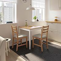 ЛЕРХАМН Стол, светлая морилка антик, белая морилка, 74x74 см, фото 1