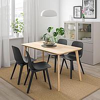 ЛИСАБО / ОДГЕР Стол и 4 стула, ясеневый шпон, антрацит, 140x78 см, фото 1