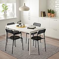 МЕЛЬТОРП / АДДЕ Стол и 4 стула, белый, черный, 125 см, фото 1