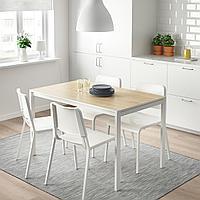 МЕЛЬТОРП / ТЕОДОРЕС Стол и 4 стула, ясень, белый, 125x75 см, фото 1