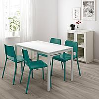 МЕЛЬТОРП / ТЕОДОРЕС Стол и 4 стула, белый, зеленый, 125 см, фото 1