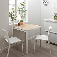МЕЛЬТОРП / ТЕОДОРЕС Стол и 2 стула, ясень, белый, 75x75 см, фото 1