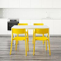 МЕЛЬТОРП / ЯН-ИНГЕ Стол и 4 стула, белый, желтый, 125 см, фото 1