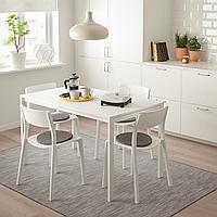 МЕЛЬТОРП / ЯН-ИНГЕ Стол и 4 стула, белый, белый, 125 см, фото 1