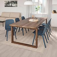 МОРБИЛОНГА / ОДГЕР Стол и 6 стульев, дубовый шпон, синий, 220x100 см, фото 1