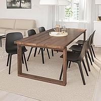 МОРБИЛОНГА / ОДГЕР Стол и 6 стульев, дубовый шпон, антрацит, 220x100 см, фото 1