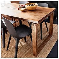 МОРБИЛОНГА / ОДГЕР Стол и 4 стула, дубовый шпон коричневая морилка, антрацит, 140x85 см, фото 1