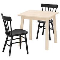 НОРРОКЕР / НОРРАРИД Стол и 2 стула, береза, черный, 74x74 см