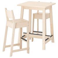 НОРРОКЕР / НОРРОКЕР Барный стол и 2 барных стула, береза береза, 74 см