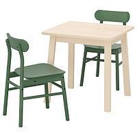 НОРРОКЕР / РЁННИНГЕ Стол и 2 стула, береза, зеленый, 74x74 см