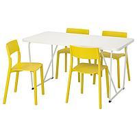 РЮДЕБЭКК/БЭККАРИД / ЯН-ИНГЕ Стол и 4 стула, белый, желтый, 150 см