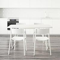 РЮДЕБЭКК/БЭККАРИД / ЯН-ИНГЕ Стол и 4 стула, белый, белый, 150 см