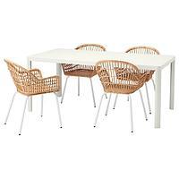 ТИНГБИ / НИЛЬСОВЕ Стол и 4 стула, белый, ротанг белый, 180x90 см