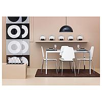 ТОРСБИ Стол, хромированный, стекло белый, 120x70 см, фото 1