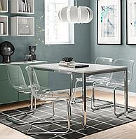 ТОРСБИ Стол, хромированный, глянцевый белый, 135x85 см, фото 1