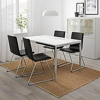 ТОРСБИ / ВОЛЬФГАНГ Стол и 4 стула, глянцевый белый, Бумстад черный, фото 1