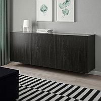 БЕСТО Комбинация настенных шкафов, черно-коричневый, Лаппвикен черно-коричневый, 180x42x64 см, фото 1