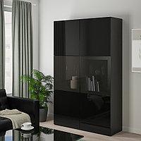 БЕСТО Комбинация д/хранения+стекл дверц, черно-коричневый, Сельсвикен глянцевый 120x40x192 см, фото 1