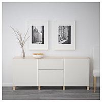 БЕСТО Комбинация для хранения с ящиками, под беленый дуб, Лаппвикен светло-серый, 180x40x74 см, фото 1