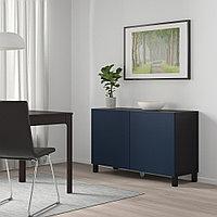 БЕСТО Комбинация для хранения с дверцами, черно-коричневый, нотвикен/стуббарп синий, 120x42x74 см, фото 1