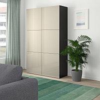 БЕСТО Комбинация для хранения с дверцами, черно-коричневый, Сельсвикен глянцевый/бежевый, 120x40x192 см, фото 1