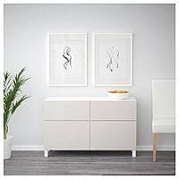 БЕСТО Комб для хран с дверц/ящ, белый, Лаппвикен светло-серый, 120x40x74 см, фото 1