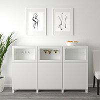 БЕСТО Комбинация для хранения с дверцами, белый Лаппвикен, Синдвик светло-серый  180x42x112 см, фото 1