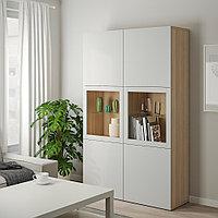 БЕСТО Комбинация д/хранения+стекл дверц, под беленый дуб, Лаппвикен светло-серый  120x40x192 см, фото 1