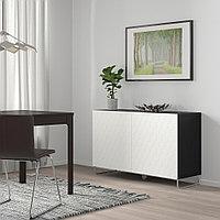 БЕСТО Комбинация для хранения с дверцами, черно-коричневый, вассвикен/суларп белый, 120x40x74 см, фото 1