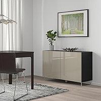 БЕСТО Комбинация для хранения с дверцами, черно-коричневый, СЕЛЬСВ/СТАЛЛАРП глянцевый/бежевый, 120x40x74 см, фото 1