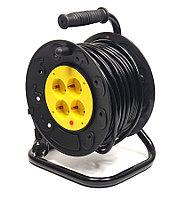 Удлинитель электрический на катушке PowerPlant 25 м, 3x2.5мм2, 16А, 4 розетки, морозостойкий, фото 1