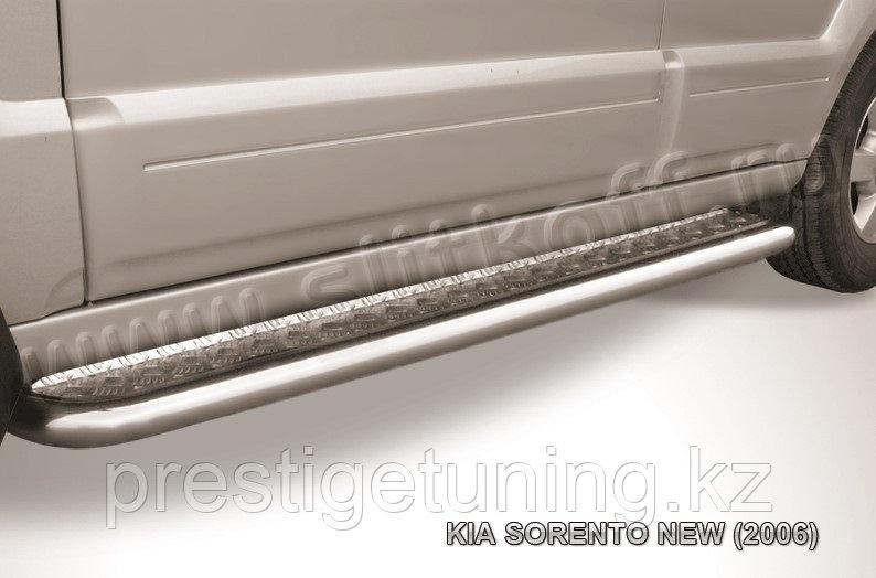 Защита порогов d57 с листом KIA Sorento 2006-09