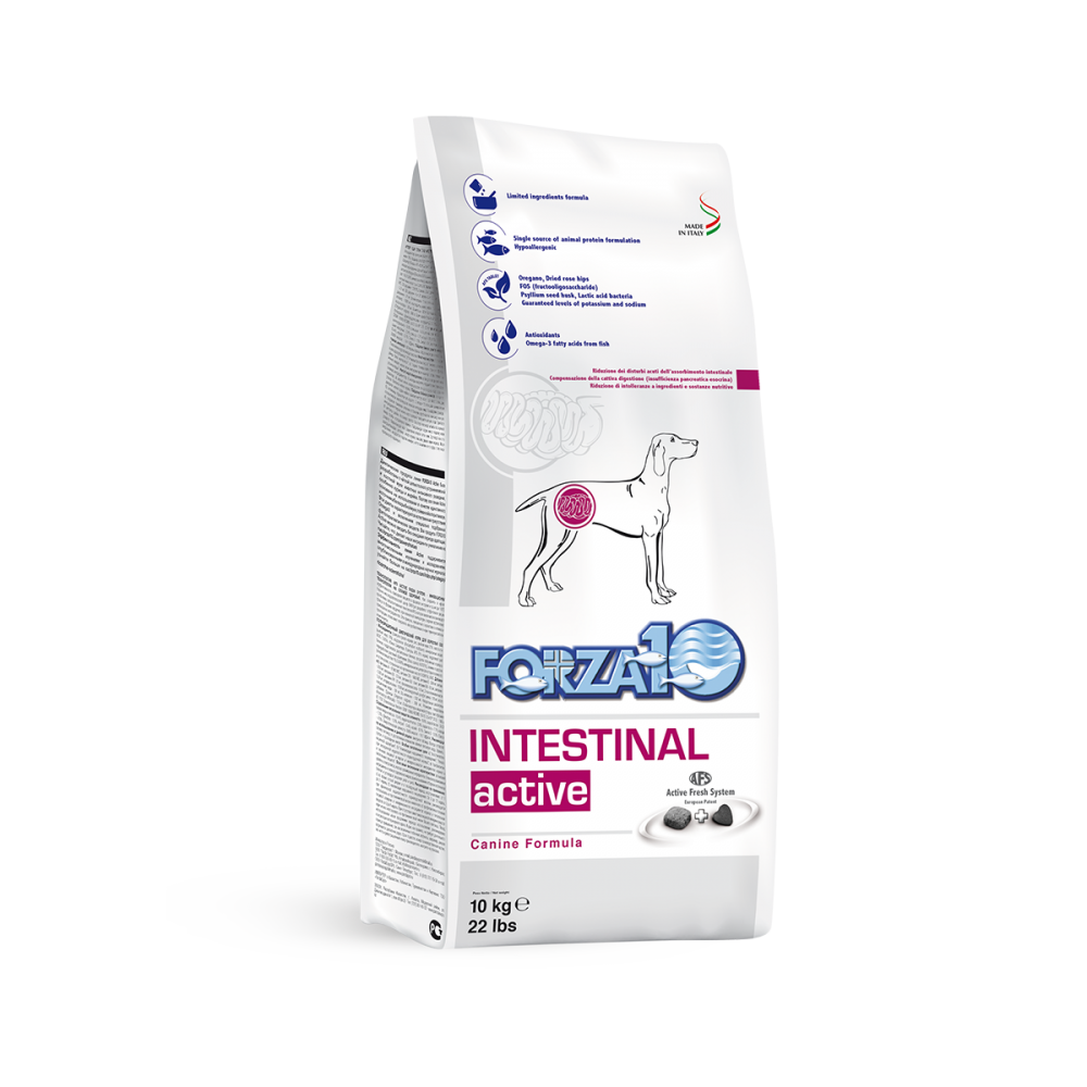 Корм Forza10 Intestinal Active для взрослых собак, при проблемах ЖКТ (Рыба) - 4 кг