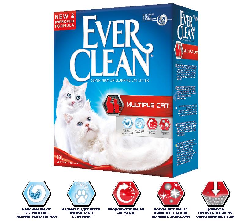 Комкующийся наполнитель Ever Clean Multiple Cat, для нескольких кошек, аромат свежести - 10 л