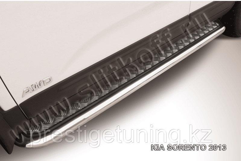 Защита порогов d57 с листом усиленная KIA Sorento 2013-14